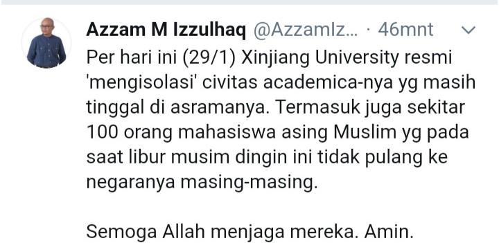 Mohon Doa, 100 Mahasiswa Muslim di Xinjiang 'Diisolasi'