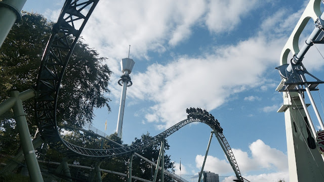 Photo of Helix Roller Coaster Airtime Hill and Atmosfear Drop Tower at Liseberg