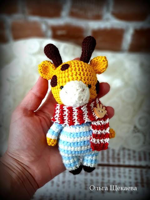 жираф, крючком, амигуруми, игрушка, связанный,