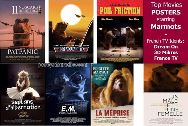 Funtastic Top Movies Posters starring Marmots from French TV Idents. Directed by Dream-on and 3D Mikros agencies.