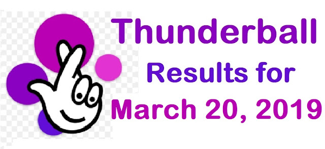 Thunderball results for Wednesday 20 March 2019