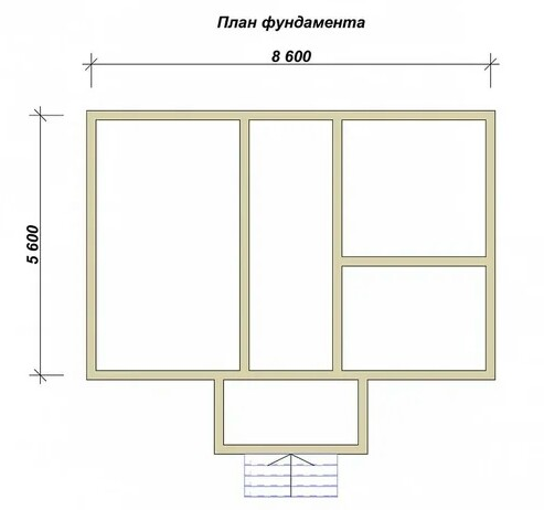 Plan of a strip deep foundation for a residential building