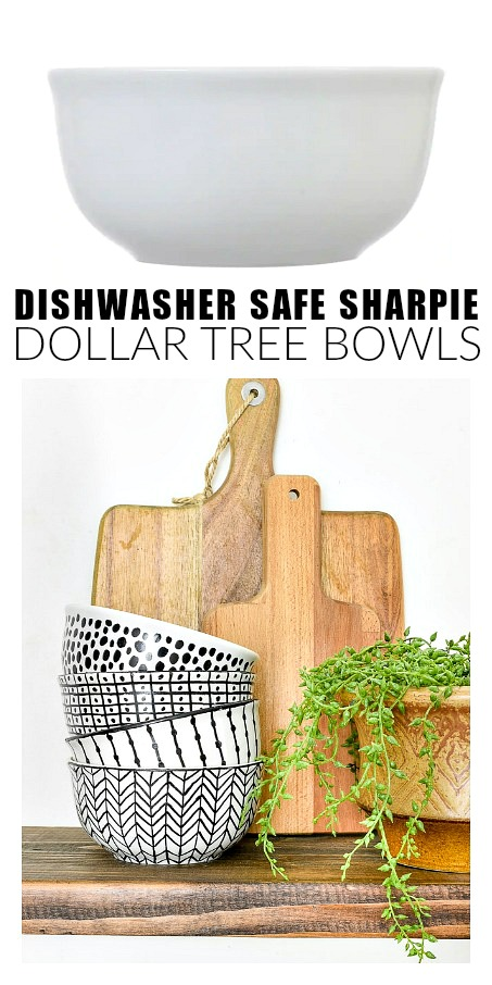 DIY no bake dishwasher safe Sharpie art bowls.