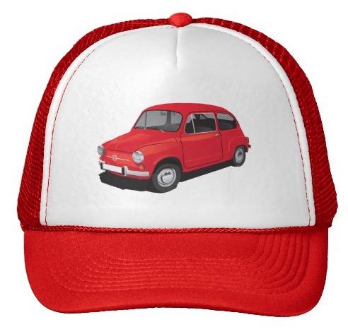 Red Fiat 600 caps