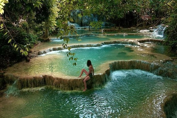 Kuangsi falls near Luang Prabang in Laos