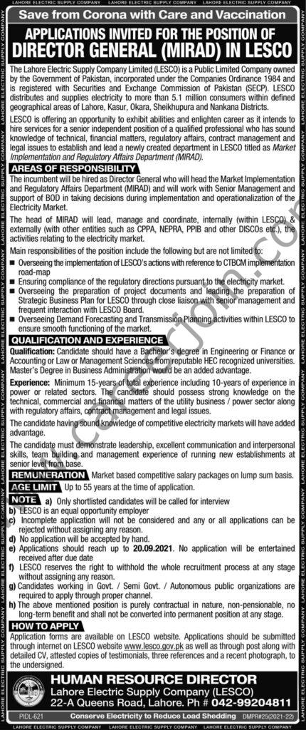Lahore Electric Supply Company Ltd LESCO Jobs Director General