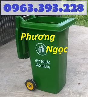 Thùng rác nhựa 240 lít nắp kín,thùng rác 2 bánh xe nhựa HDPE,thùng rác nhựa 240L TR240L1