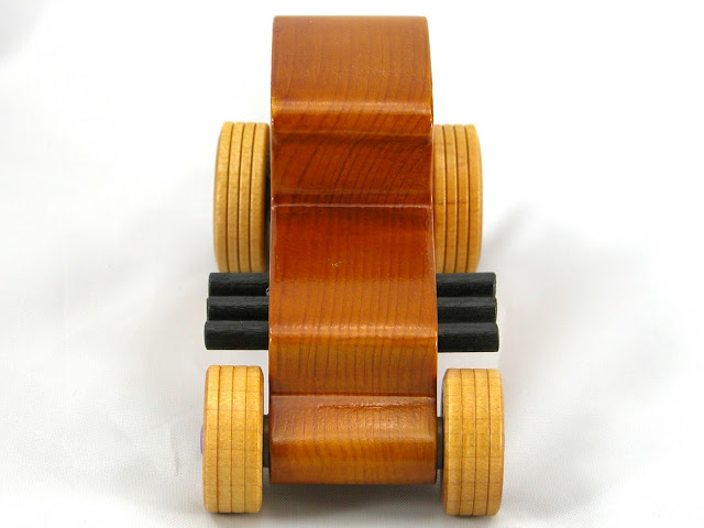 Top Front -  Wooden Toy Car - Hot Rod Freaky Ford - 27 Coupe - Pine - Amber Shellac - Metallic Purple Hubs