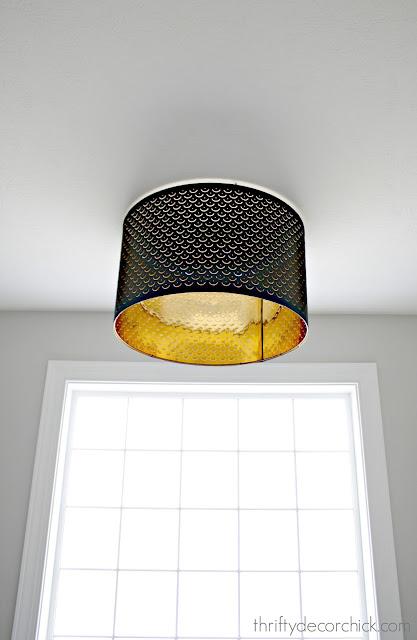 Large black lamp shade as flush mount