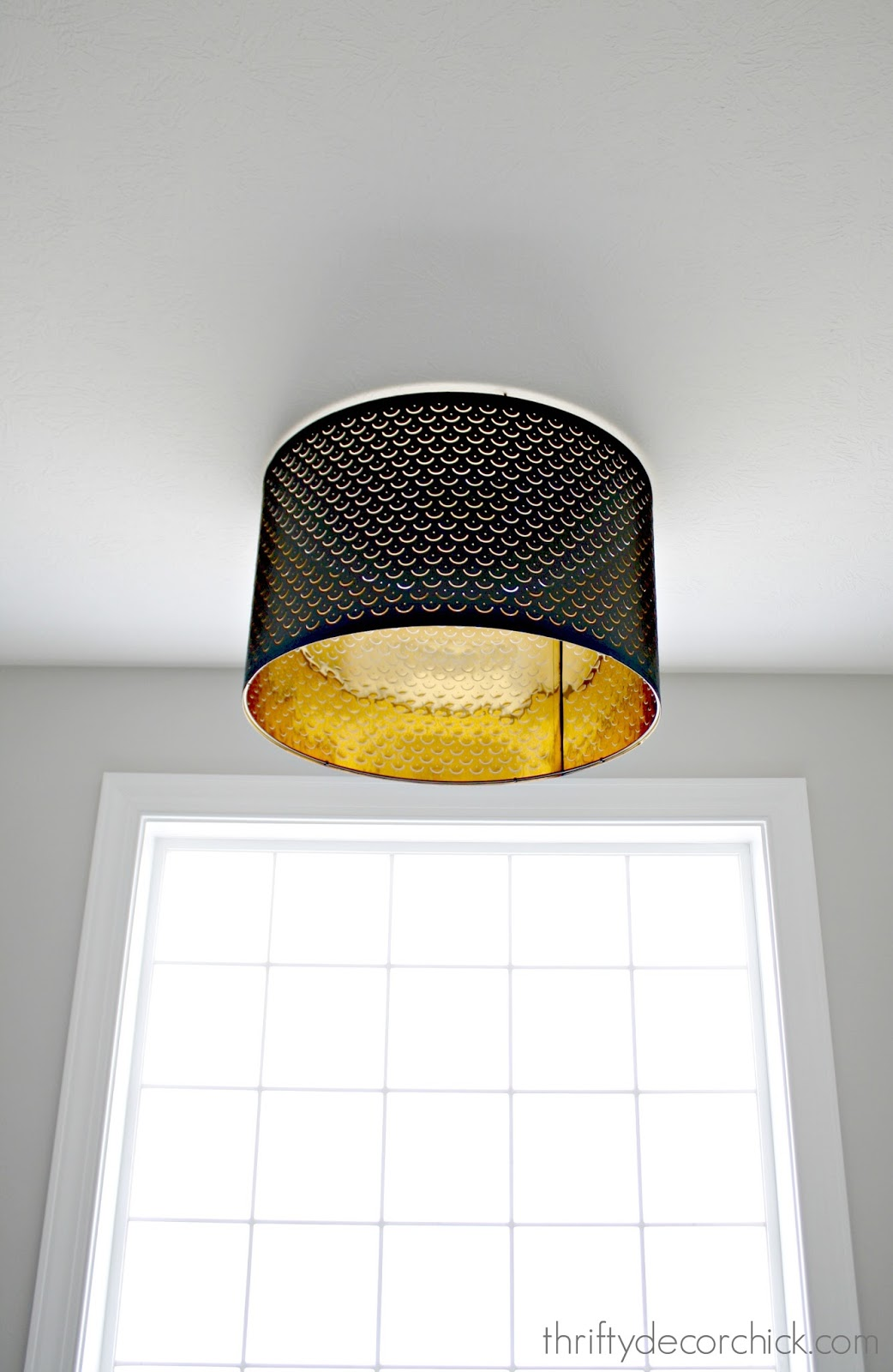 Large black lamp shade as flush mount