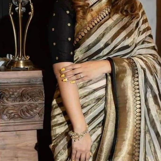 New Handloom Banaras Tissue Linen Saree