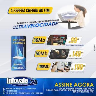 Infovale Telecom é Ultravelocidade, novos planos de até 100MB.