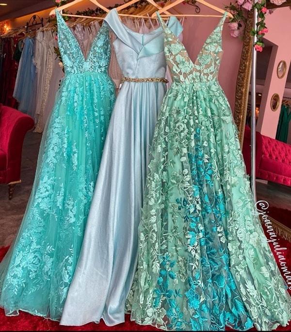 vestido para madrinha de casamento no campo azul serenity e verde