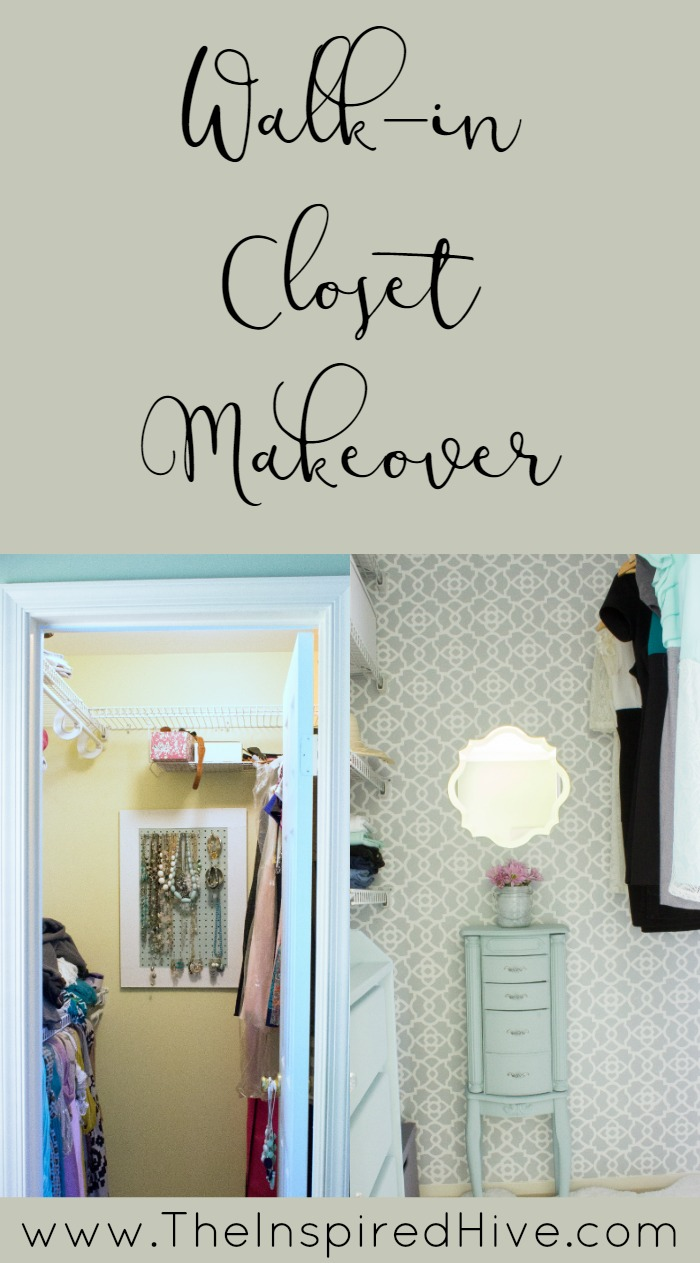 A master bedroom closet gets an easy update with girly details and a few DIY ideas.