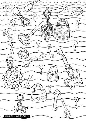 A coloring page of locks, keys and secrets / Värityskuva lukoista, avaimista ja salaisuuksista