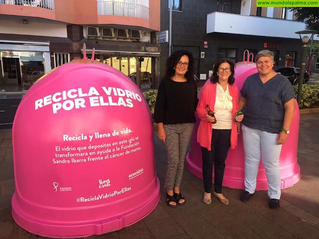 Ecovidrio, el Cabildo Insular de la Palma y Los Llanos de Aridane presentan la campaña 'Recicla Vidrio por ellas' con motivo del Día Mundial del Cáncer de Mama.