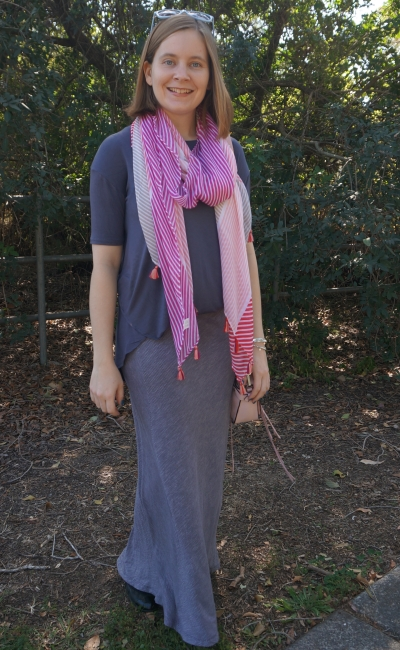monochrome grey tunic and pinstripe maxi skirt playground outfit with bright striped scarf | awayfromblue