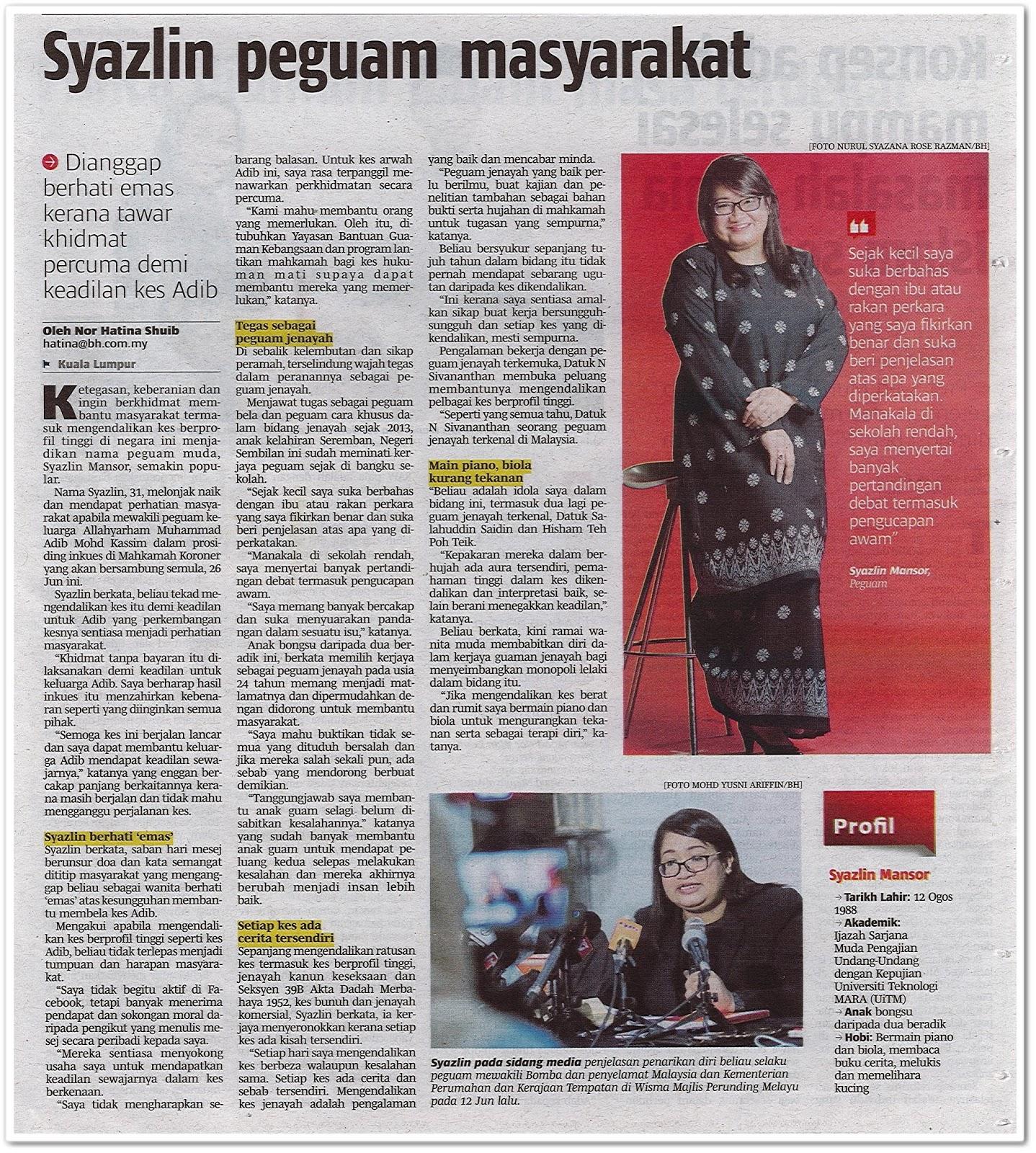 Syazlin peguam masyarakat - Keratan akhbar Berita Harian 25 Jun 2019