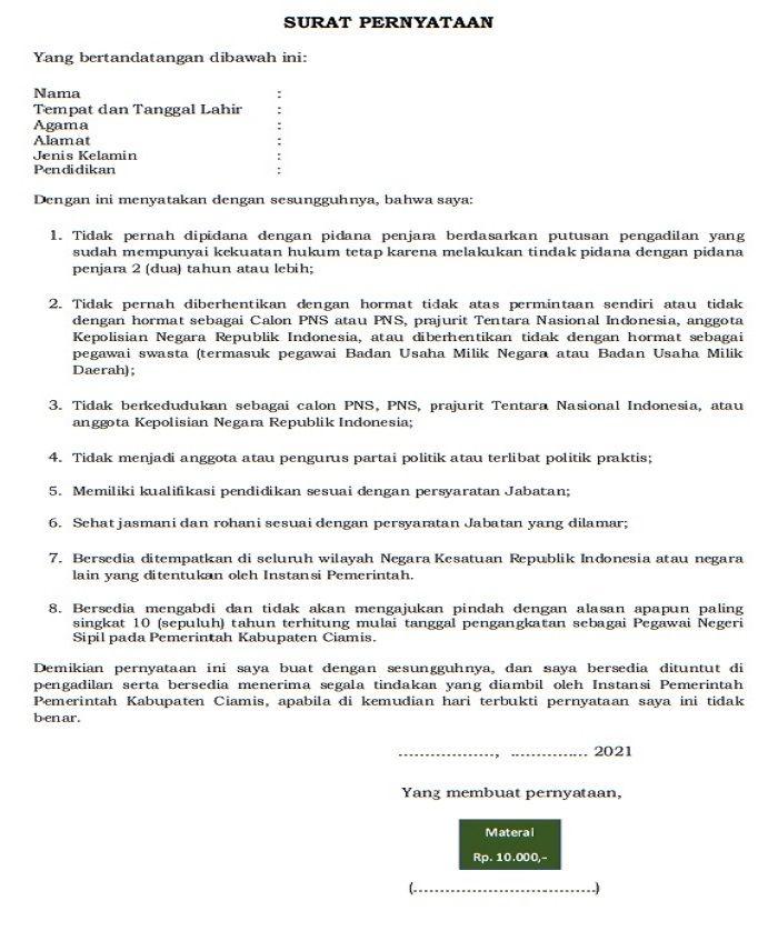 Format Surat Pernyataan untuk seleksi CPNS dan PPPK 2021 Kabupaten Ciamis BKPSDM Kabupaten Ciamis