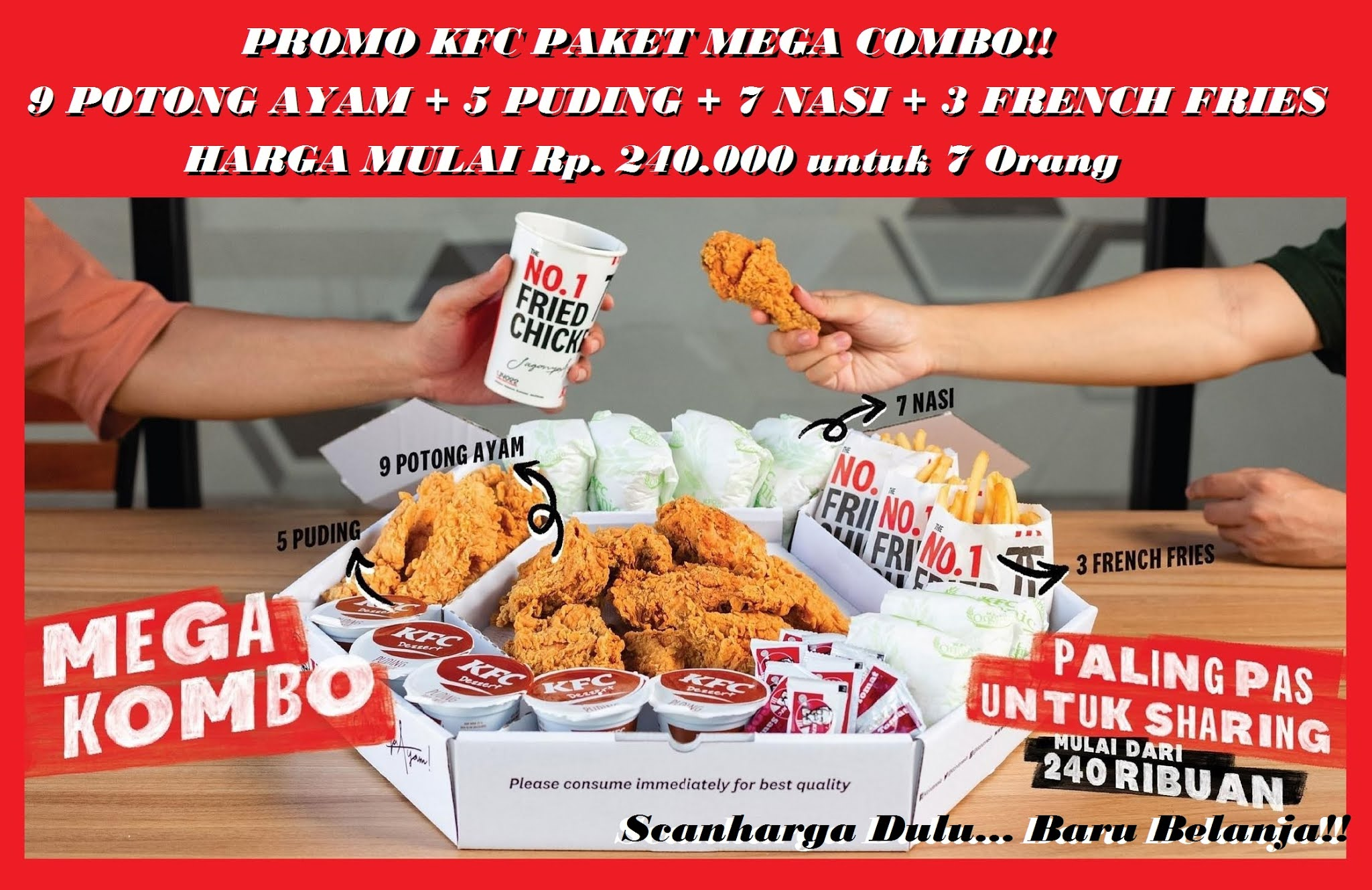 Promo KFC Terbaru Paket MEGA COMBO - Harga mulai Rp 200 Ribuan