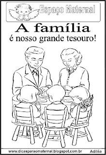 Desenho de família para colorir