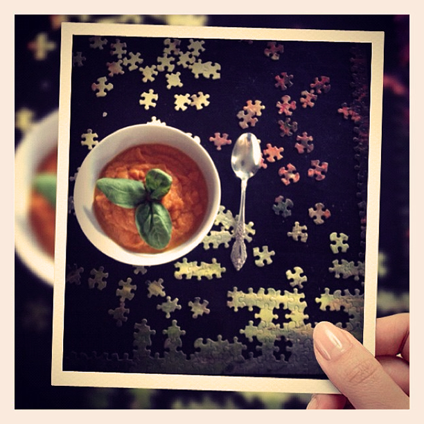 puzzle and carrot soup