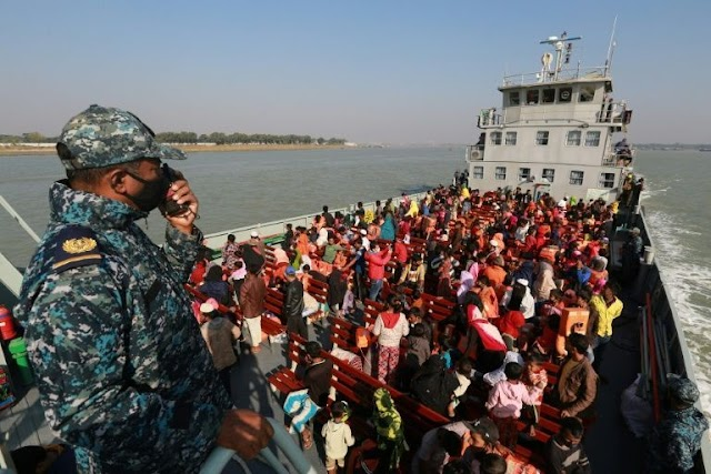 Human Rights :Five Bangladesh navy ships save 1,700 Rohingya refugees left in isolated island.