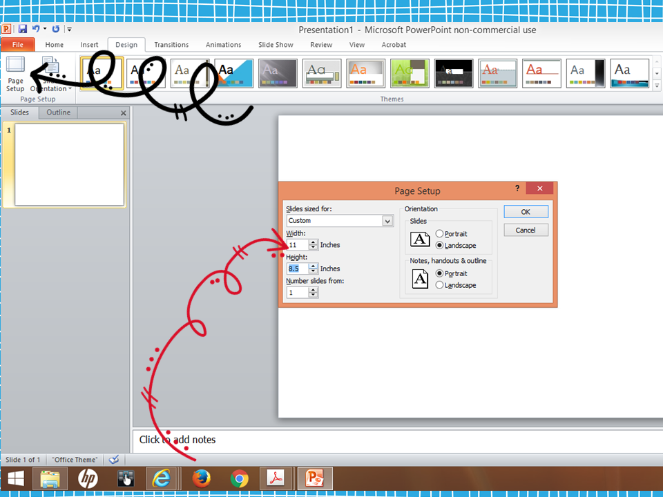 how to change landscape to portrait in powerpoint 2016