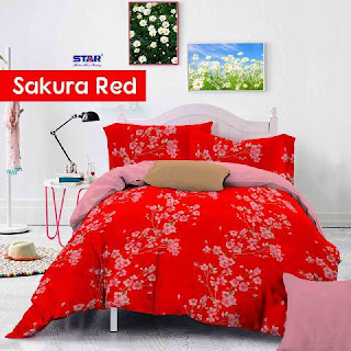 Sprei Sakura Red Cantik Bahan Cotton murah