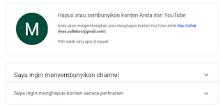 hapus atau sembunyikan channel