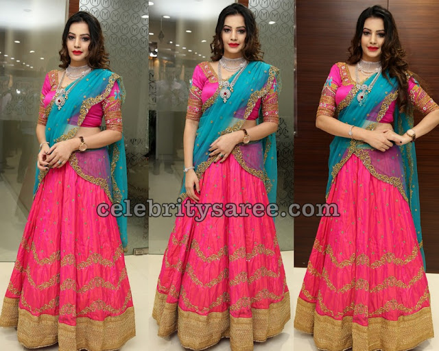 Diksha Panth in Pink Zardosi Half Saree
