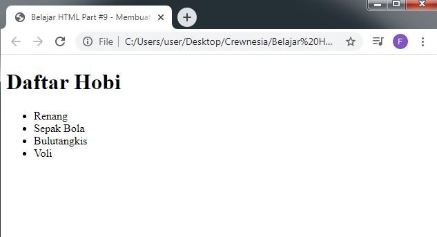 Crewnesia - Membuat List Pada HTML