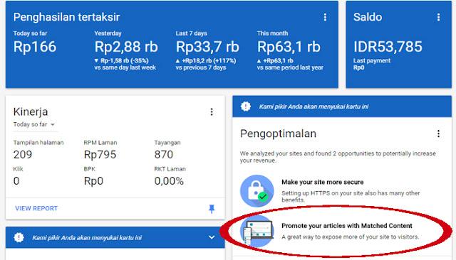 Cara Mendapatkan Iklan Matched Content Google Adsense Dengan Mudah
