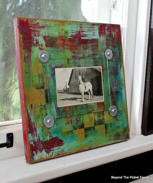 Colorful DIY Frame from Thrift Store Checker Board