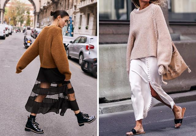 Коричневый и бежевый свитер оверсайз с прозрачной черной юбкой и белой юбкой из атласа