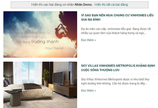 Templates blogspot bất động sản chuẩn seo dự án VIN HOMES