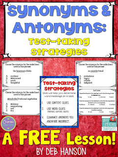 Teach your students these three test strategies for identifying synonyms and antonyms on standardized tests... even when they don't know what a word means! This FREE lesson contains a poster, an exit ticket, and three multiple choice teaching examples!