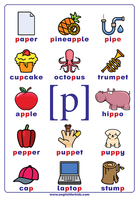 English phonetics chart - consonant sound p represented by letter p