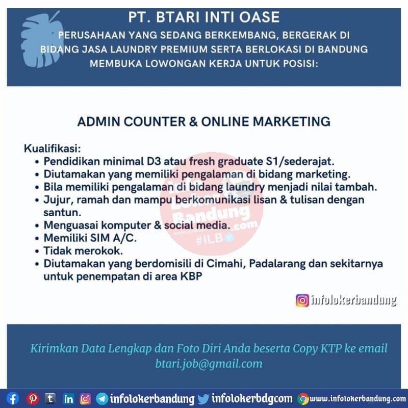 Lowongan Kerja Admin Counter & Online Marketing PT. Btari Inti Oase Bandung Mei 2021