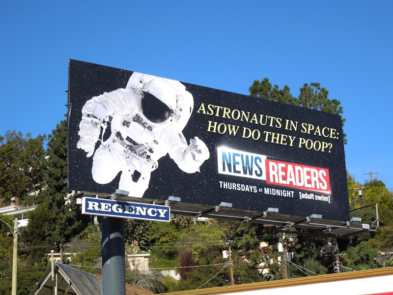 Newsreaders astronaut billboard