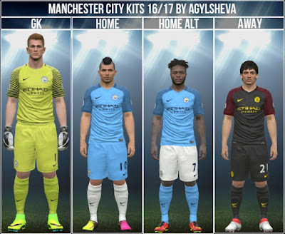 PES 2016 Manchester City 16/17 Kits by Agylsheva