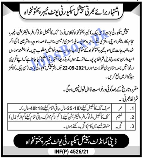 Special Security Unit KPK Jobs 2021 – SSU CPEC Recruitment