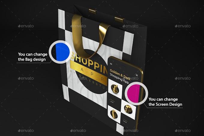 Gold & Dark Shopping App Mockup[Photoshop][28728779]