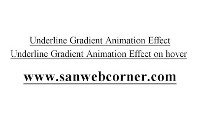 Underline Animation Effect on hover the text using simple css