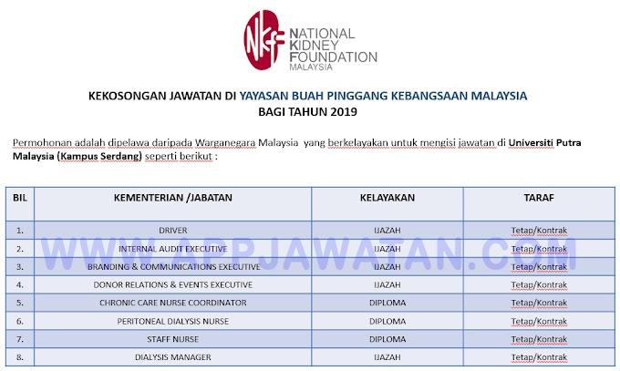 Jawatan Kosong Terkini di Yayasan Buah Pinggang Kebangsaan Malaysia.