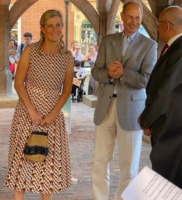 The Countess of Wessex wore a Liliana scoop-neck graphic print woven maxi dress from Diane Von Furstenberg. tote bag