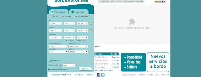 web de Balearia en 2006