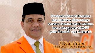 Ekses Kongres Luar Biasa, Zaini Pecat Sekretaris PNA Kota Banda Aceh