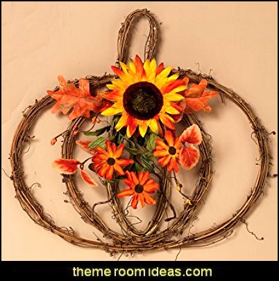 Natural Twig Harvest Pumpkin Decoration with Floral Accent - Wall Hanging Autumn Decoration