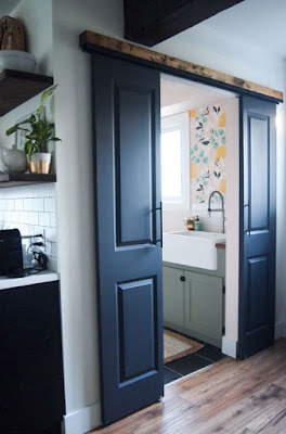 DIY barn door for small or tight space